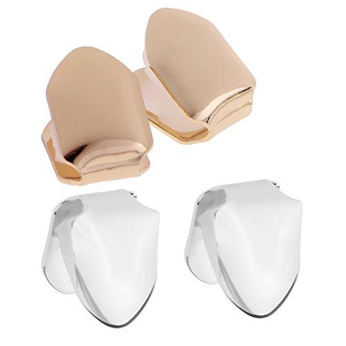 sharprepublic 2 Pairs Fashion Single Cap Teeth Grill Hip Hop Tooth Grills Mouth Caps Set