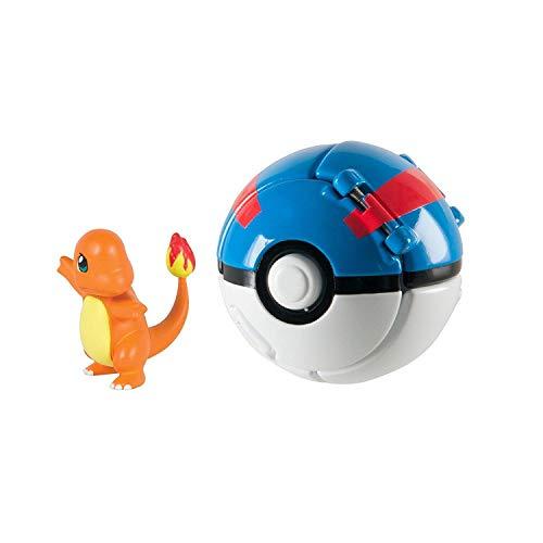 Figurine Pokemon , Pokemon Lets Go Charmander avec Jeu de Balle Action Figure Figure Toy Set pour Enfants