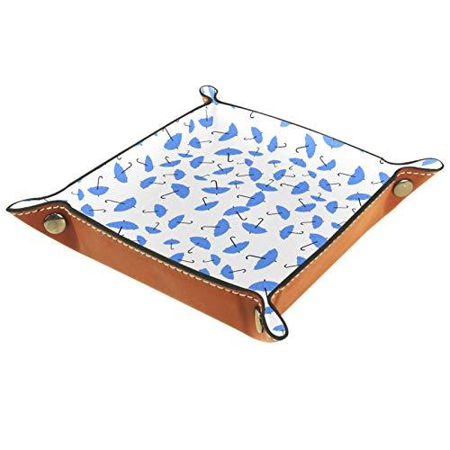 YATELI Kleine Aufbewahrungsbox,Herren-Valet-Tablett,Blaue Regenschirme Weiß (1),Leder Catchall Organizer für Coin Box Key Schmuck