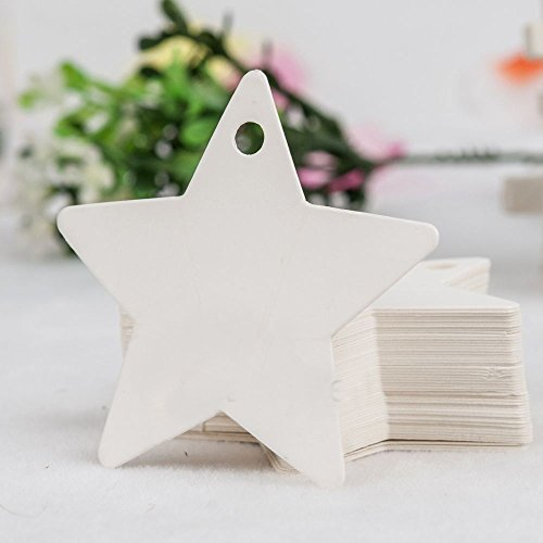 LovelyLifeAST Star Blank Kraft Paper Gift Tags Wedding Doorplate Scallop Favour Luggage Whie