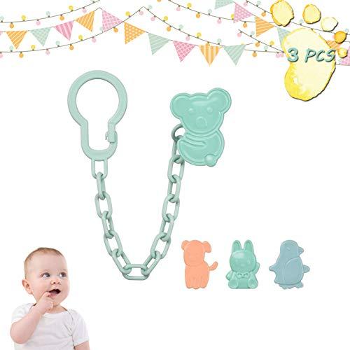 Cadena Chupete Bebé 3 Piezas Chupetero para Bebé Cadena Sujeta Chupete de plástico clip de cadena Soothie Clip Pinza Chupete Holder Clips, Para Bebé Niños Niñas (3)