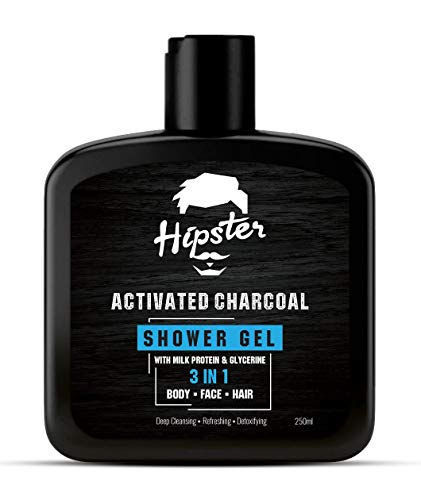 Hipster Activated Charcoal 3 in 1 Body Wash Shower Gel 250ml | Pack Of 1 | For Face, Hair & Body | Shower Gel Body Wash For Men | With Charcoal, Milk Protein & Glycerine | Made In India