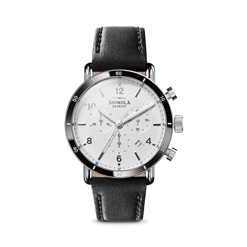 Shinola The Canfield Sport 40mm White Dial with Black Leather Strap Unisex...