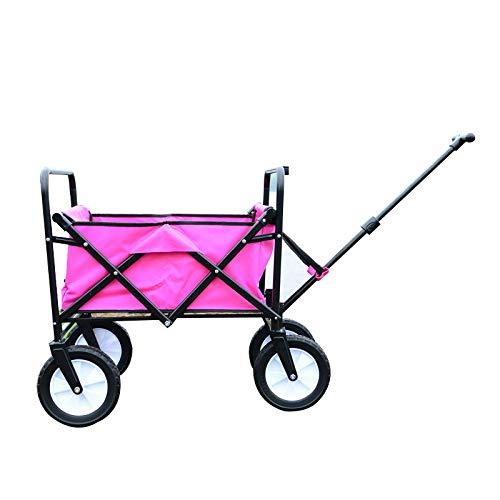 CHHBOXCHH Faltbarer Bollerwagen/Strandwagen/Bollerwagen Faltwagen 60°Drehbar, Belastbar Bis 75kg Vollgummi-Reifen T-Griff Leichte Teleskopstange,Pink