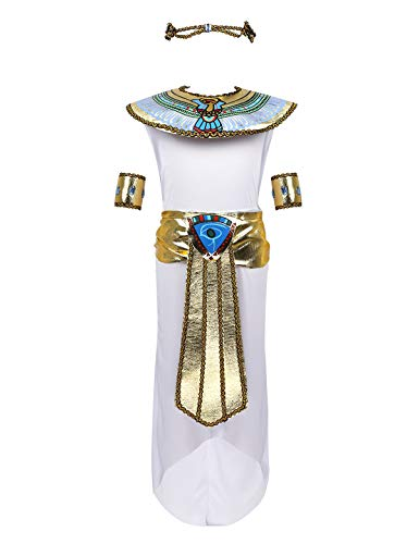 Freebily Principessa Egiziana Costume Bambina Regina Egiziana Bianca Egitto Travestimento Bambina Halloween Egiziana Abito Carnevale Dea Egizia