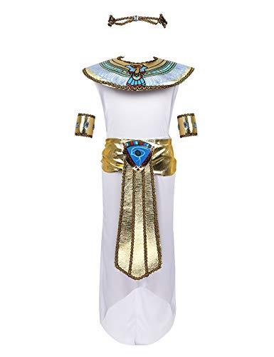 Agoky Disfraz de Princesa Egipcia Cleopatra para Niña Cosplay Traje de Faraón Egipcio Vestido + Collar + Tocado + Pulsera para Fiesta Carnaval Halloween Blanco 11-14 Años