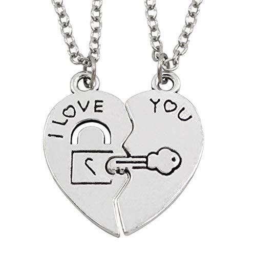 BESTOYARD 1 par de Collares de Las Mujeres en Forma de corazón Colgante TE Amo Letras Patrón de Bloqueo de Teclas Pareja Amantes Regalos para el Día de San Valentín Aniversario (Plata)