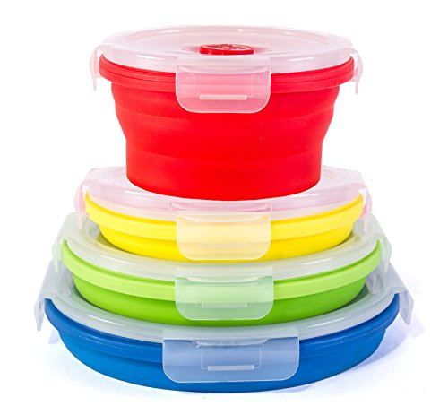 Thin Bins Collapsible Containers – Set of 4 Round Silicone Food Storage Containers – BPA Free, Microwave, Dishwasher and Freezer Safe - No more cluttered container cabinet!