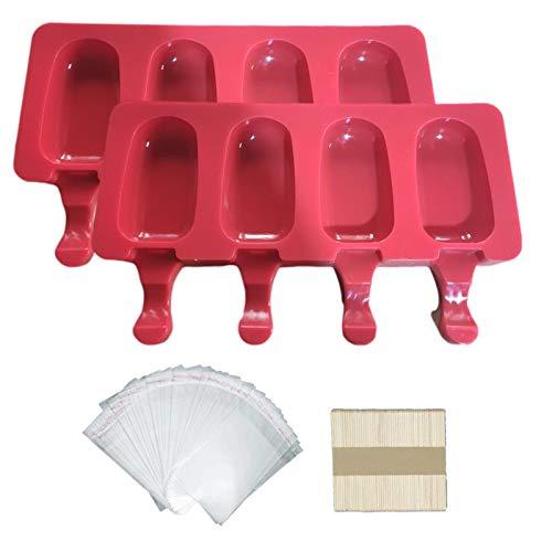 Further Molde de silicona para helados, 4 cavidades para palitos de hielo, creativo, para hacer helados, postre y helados, con 50 palitos de madera y 50 bolsas de paletas