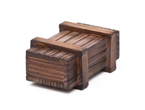 Casa Vivente Magische Geschenkbox aus dunklem Holz – Trickkiste für Geldgeschenke – Knobelspiel – 10,5 cm x 6,5 cm x 4,5 cm