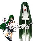 Sailor Moon Pluto Meiou Setsuna Cosplay Pelucas Verde Oscuro Pelo Sintético Largo Recto Perucas Anime Disfraz Peluca Kuzz069A
