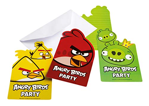 Invitations anniversaire Angry birds (x6)