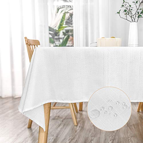 KINLO Tischdecke Leinenoptik Tischtuch Leinendecke Leinen abwaschbar Tischläufer Tischwäsche Eckig Lotuseffekt Wasserdicht Fleckschutz pflegeleicht, 120x260 cm Weiss