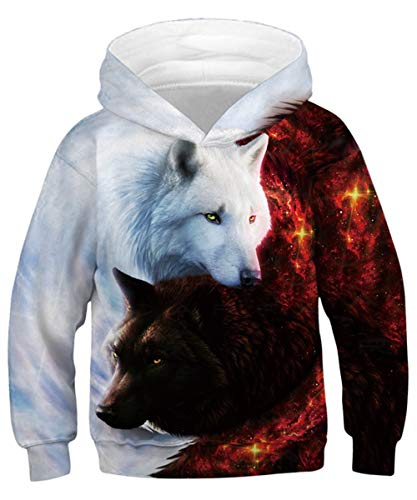 ALISISTER Jungen Mädchen 3D Galaxis Paar Wolf Drucken Kapuzenpullover Hoodies Kinder Beiläufig Hoody Pullover Sweatshirts Tops Bluse mit Tasche L