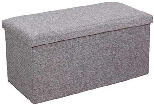 Ducomi Puf cubo plegable reposapiés, taburete contenedor de mezcla de lino, baúl contenedor para juegos, sillón contenedor para salón, decoración italiana (gris, 76 x 38 x 35 cm)