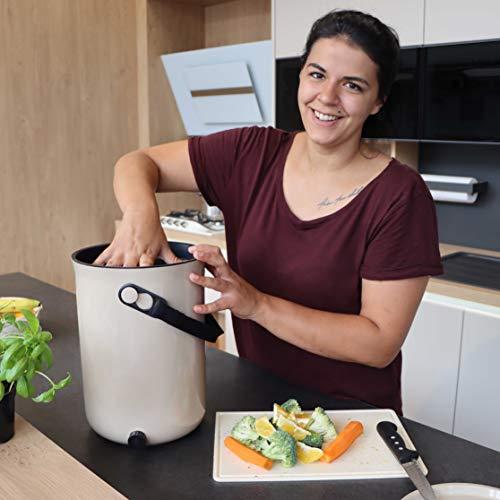 Skaza Bokashi Organko 2 (9.6 L) Compostiera per Cucina in plastica Riciclata | Starter Set con Miscela di fermentazione Bokashi Organko 1 kg (Crema-Bianco)