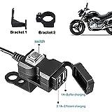 ZXYAN Adaptador de Cargador rápido de Moto Dual USB 3.1A a Prueba de Agua para 9-90V Motocicleta Electrombile Enchufe USB de Motocicleta Negro