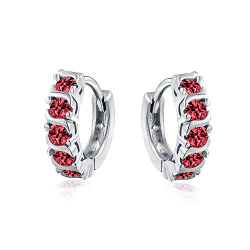 Rote Welle Runde Zirkonia Cz Kleine Kpop Huggie Creolen Für Frauen Für Männer Simuliert Rubin Sterling Silber