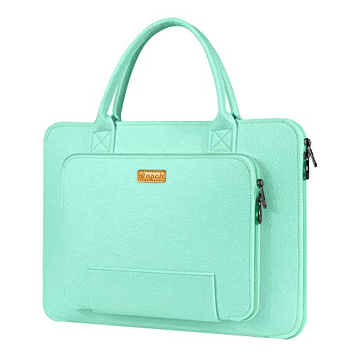 Ropch 15.6' Felt Laptop Sleeve with Handle, Portable Laptop Bag Notebook Computer Case Carrying Bag Pouch Handbag for 15 15.6 Inch Asus/ Acer/ Dell/ HP/ Lenovo/ Toshiba, Light Green