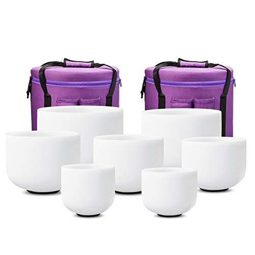 CVNC 432HZ 8-14 Inch Frosted Quartz Crystal Singing Bowls Free 2 PCS Carry Case Bag