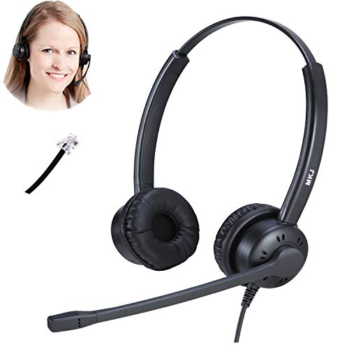 MKJ Call Center Phone Headset with Noise Cancelling Microphone Corded RJ9 Telephone Headset for Office Phones Compatible with Plantronics Polycom Gigaset Avaya Aastra AudioCodes Toshiba Nortel etc