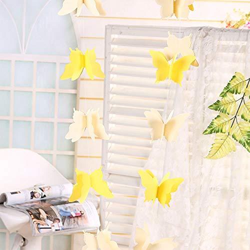 elegantstunning Girlande, Papier, Deko für Hochzeit Geburtstag Party süße Schmetterling Design Gelb