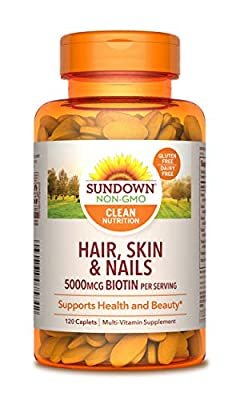 Hair, Skin & Nails Vitamins by Sundown, with Collagen, Non-GMOˆ, Free of Gluten, Dairy, Artificial Flavors, 5000 mcg of Biotin, 120 Caplets