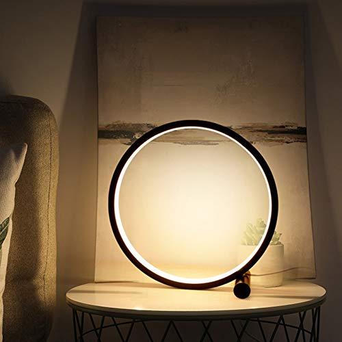 Ydshyth Lámpara de Lectura de Mesa con diseño Circular, lámparas de Mesa de Noche Decorativas Modernas, iluminación LED Regulable Tricolor, para habitación de niños, 5W