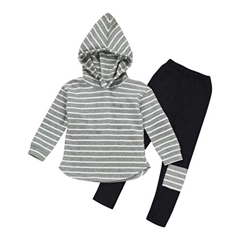 Toddler Kids Boy Girl Striped Long Sleeve Hoodie Pants Outfits Winter Clothes Set for 3-7Y (Gray, 120(5T))