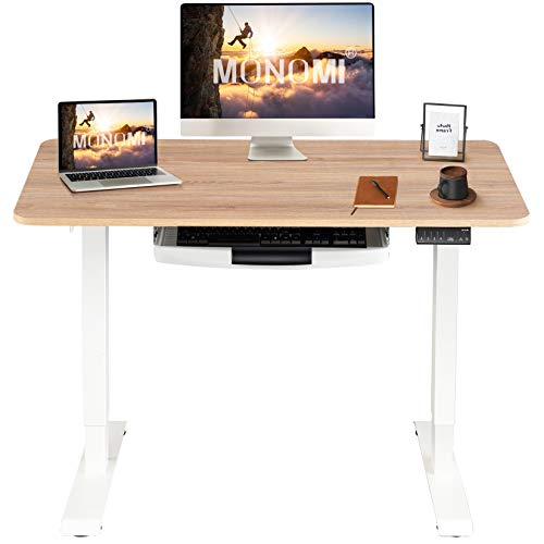 MONOMI Electric Height Adjustable Standing Desk, 48 x 24 inches Stand up Desk Workstation, Sit Stand Home Office Table with 4 Programmable Preset...