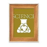 科学実験器具粒子 デスクトップ木製フォトフレームディスプレイアート絵画セット