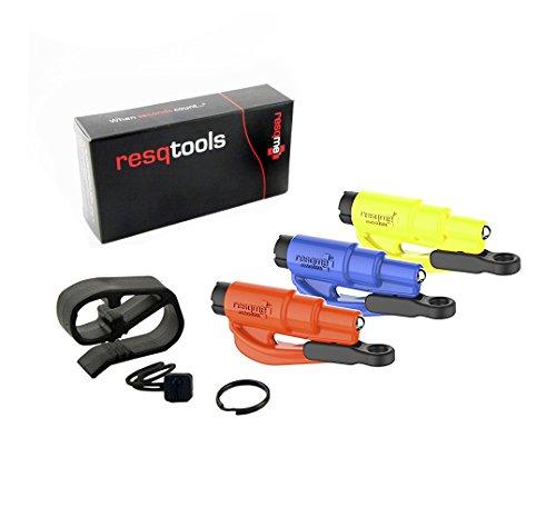 RESQME 05.300.02.05.09 blau/orange/Safety gelb Schlüsselanhänger Auto Fluchtwerkzeug 4 Geräte