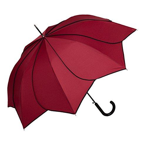 VON LILIENFELD Regenschirm Sonnenschirm Hochzeitsschirm Auf-Automatik Blütenform Minou Bordeaux mit schwarzen Ziernähten