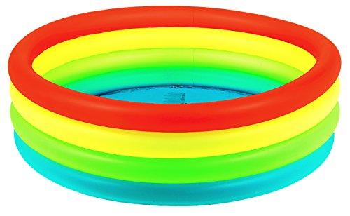 Jilong JL010195NPF-P71 JIL2528-6926799214883 Neon Fashion Pool Ø150x40cm Kinderpool Planschbecken Schwimmbecken Schwimmbad, Rot Gelb Grün Blau