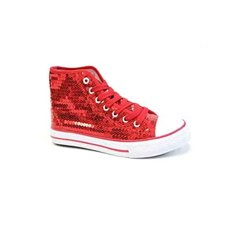 Unbekannt Pailletten Schuhe Rot Glitzer 36-42 Damen & Herren Designer Schnürer (41, Rot)