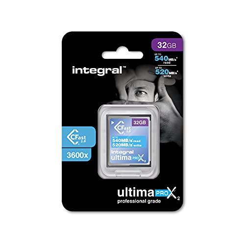Tarjeta CFast 2.0 de 32 GB de alto rendimiento, de Integral, con una velocidad de lectura de hasta 540 MB/s y una velocidad de escritura de hasta 520 MB/s