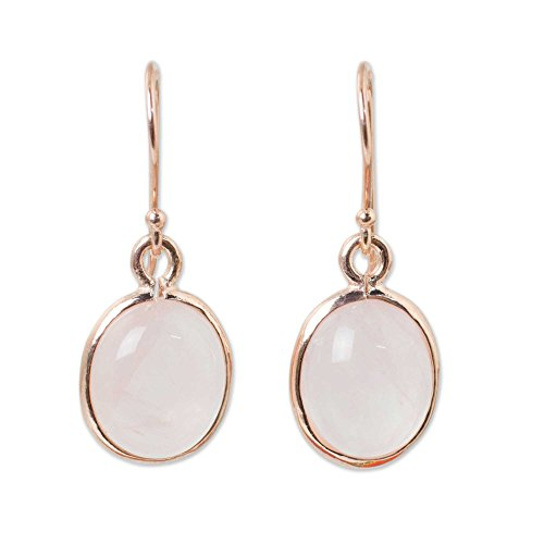 NOVICA Rose Gold Plated Sterling Silver and Rose Quartz Dangle Earrings, Morning Rose'