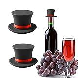 2 Pcs Silicone wine stopper, Champagne Stopper for Wine Bottle, Wine Stoppers Bottle Stoppers for Wine Saver, Glass Bottle Set, Pop Small Gift(Black)