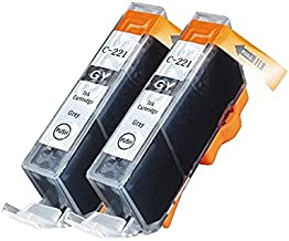 JETDIRECT Compatible Ink Cartridge Replacement Set for Canon CLI-221 (Pack of 2: 2 C-221 Gray)
