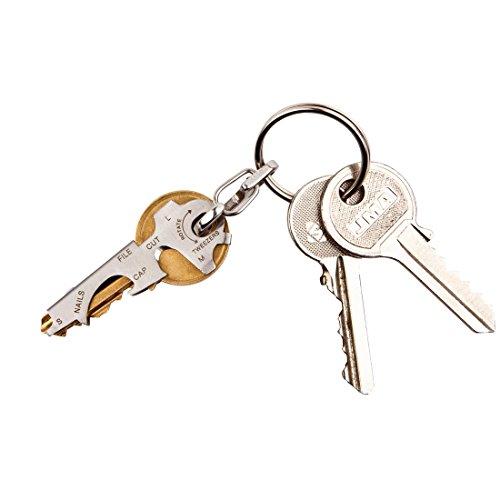 Attrezzo tascabile 8 in 1 che si adatta a quasi tutte le chiavi. Con 8 funzioni e moschettone. Dimensioni: 50 mm x 20 mm Materiale: acciaio inossidabile 422