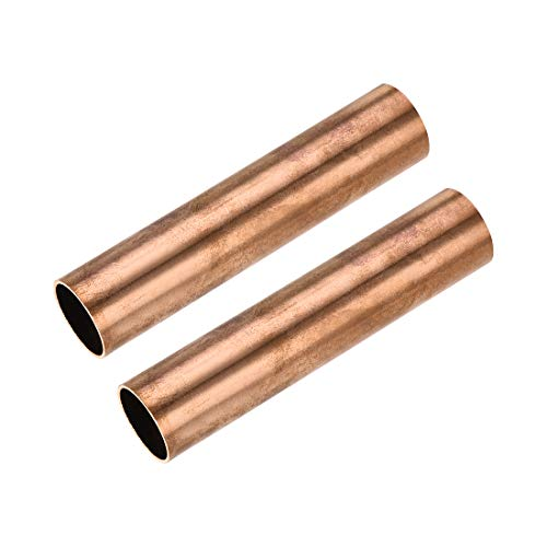 sourcing map Cobre Redondo Tubo 22mm OD 1mm Pared Grosor 100 mm Longitud Hueco Recto Tubo Tubería 2uds