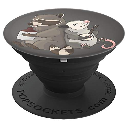 Opossum and Raccoon playing banjo and jug instruments PopSockets Grip and Stand for Phones and Tablets