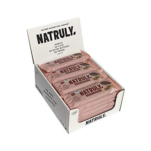 NATRULY Barritas Energéticas BIO Cacao + Cacahuete Sin Azúcar Añadido, 100% Natural y Orgánicas, Sin Gluten, Vegana -Pack 12x40g