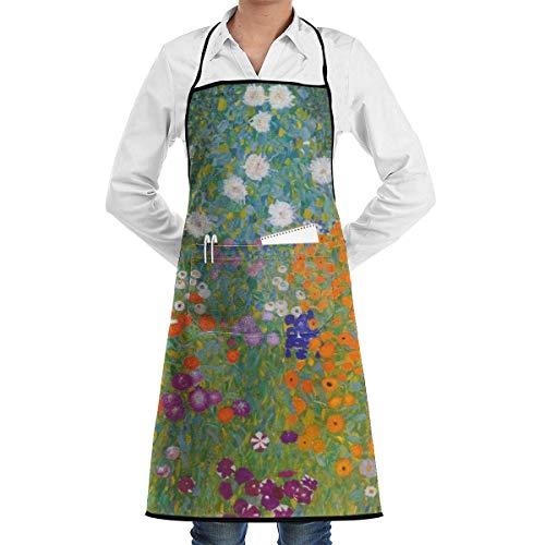 alice-shop Delantal Babero Cottage Garden Impreso Cocina Ajustable Cocina Delantal de Chef con Bolsillo, Cocina Hornear Elaboración Jardinería y Barbacoa