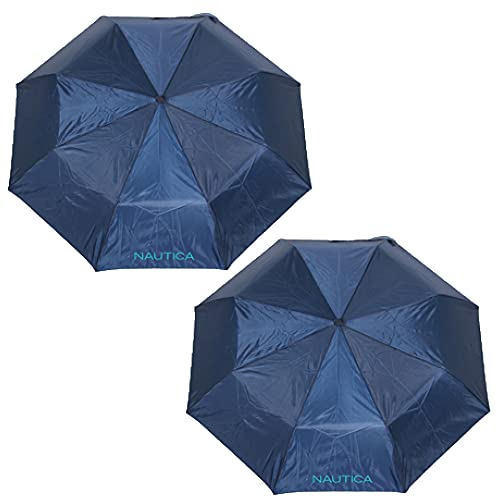 """2-Pack Nautica 3-Section Auto Open Umbrella - Sturdy Rainy Day Protection with Ergonomic Handle, 42"""" of Coverage (Navy)"""
