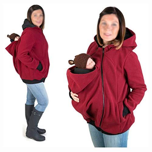 YXX 3-In-1 Multifunción Madre Canguro para Mujer Sudadera Capucha Top Portador De Bebé Abrigo Chaqueta Sudadera con Cremallera para Portabebés,Rojo,XXL