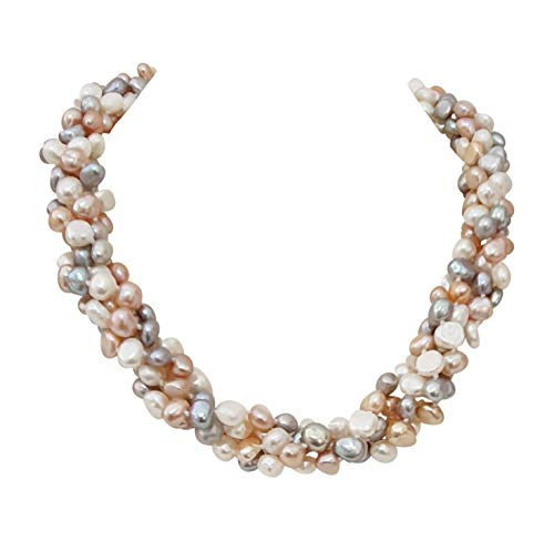 TreasureBay 7-8mm Baroque Pearl Necklace Chunky Four Strands Twisted Style Necklace with Magnetic Clasp 45-49cm