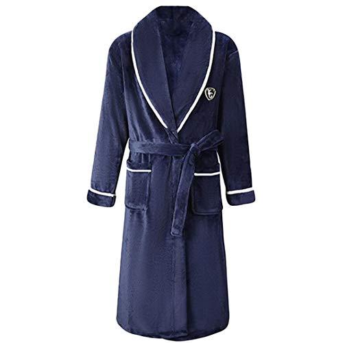 Männer Winter Robe Lovers Warm Dick Kimono Flanell Nachthemd Home Kleidung Men B XXL