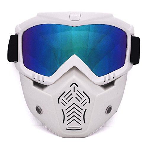 Lommer Maske Airsoft, Abnehmbar Schutzmaske Gesichtsmaske Schutzbrille Taktische Maske Brille Staubschutz Brille für Nerf, Paintball, CS Spiel und Fahrrad Dirtbike Motocross Motorrad (Weiß)