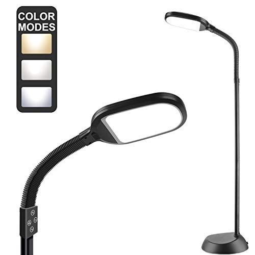 Addlon LED Floor Lamp with 4 Brightness Levels & 3 Color Temperatures, Smooth Touch Switch, 2500 Lumens, Dimmable Reading Standing Lamp with Gooseneck for Sewing Living Room Office - Classic Black